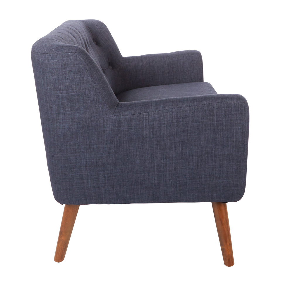 Milstein mid century modern tufted blue loveseat with cherry legs side view