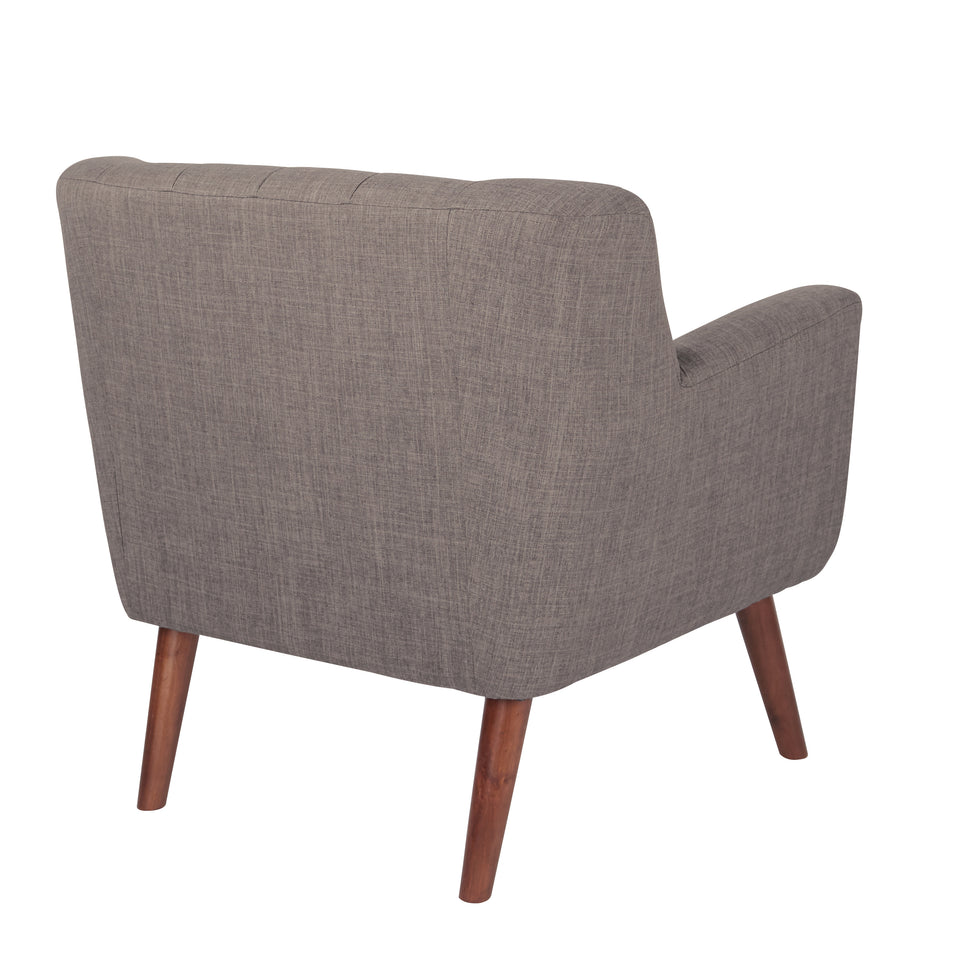 Milstein mid century modern tufted gray lounge chair with cherry legs back angle view