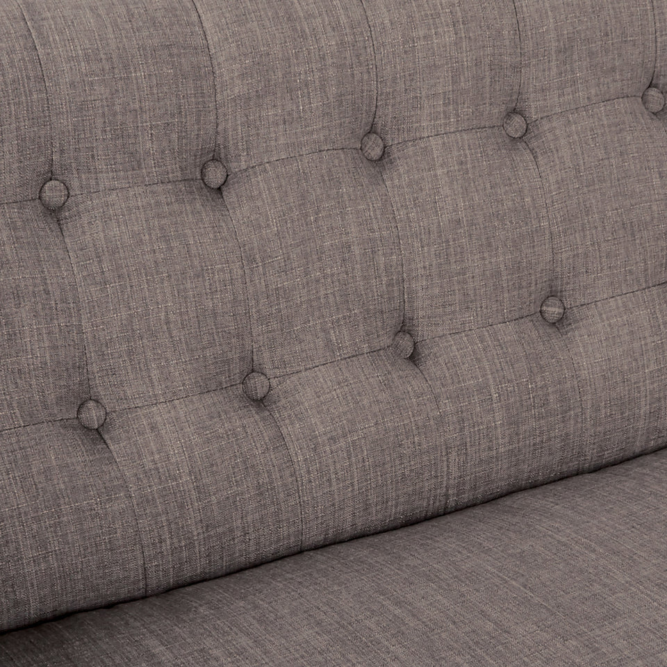 Milstein mid century modern tufted gray loveseat detail
