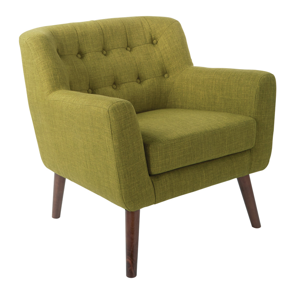 Milstein mid century modern tufted green lounge with cherry legs side view