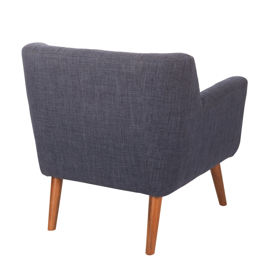 Milstein mid century modern tufted blue lounge chair with cherry legs back angle view