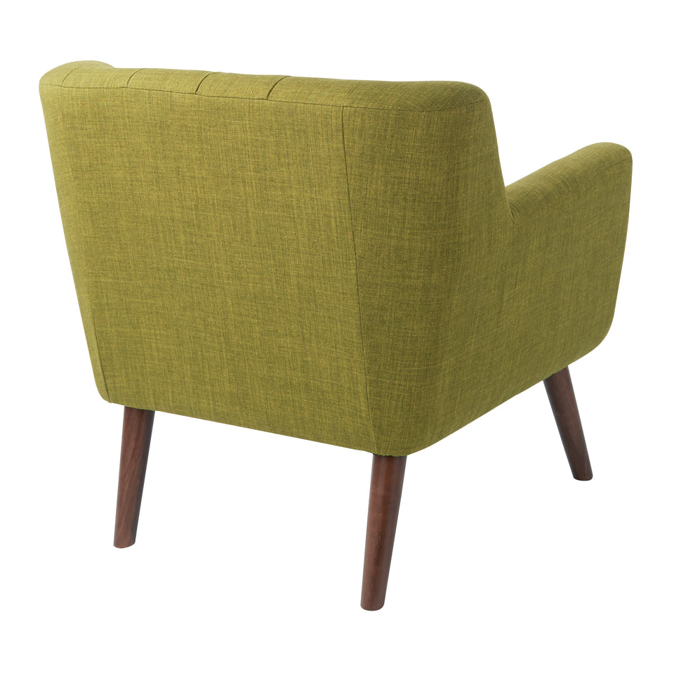 Milstein mid century modern tufted green lounge with cherry legs back angle view