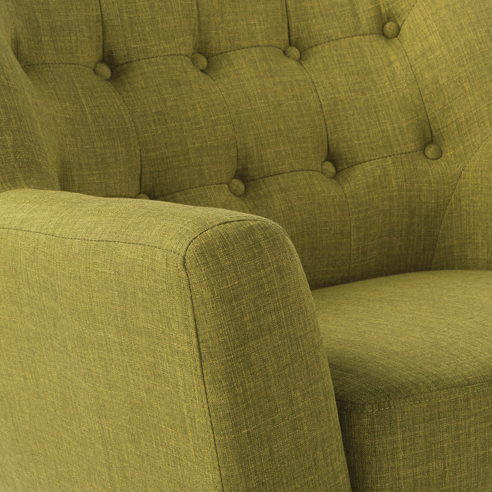 Milstein mid century modern tufted green loveseat with cherry legs detail