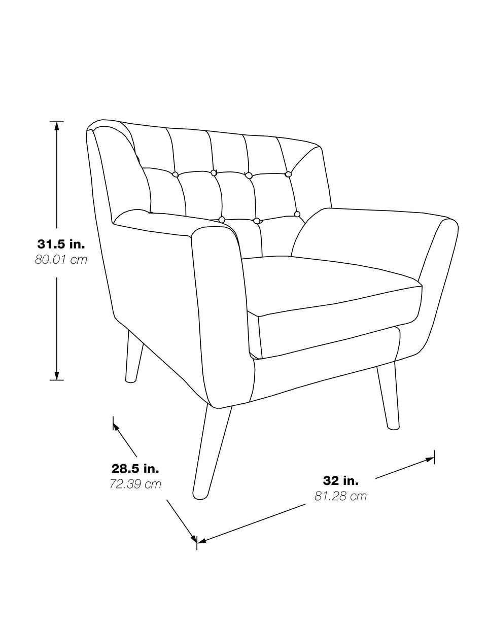 milstein lounge chair 3d black and white schematic