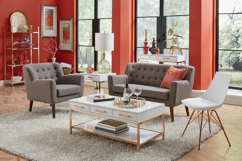 milstein loveseat & lounge chair in gray in modern living room setting