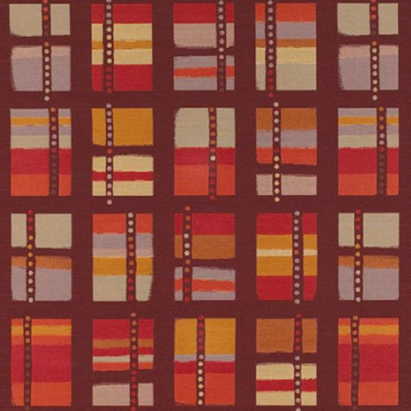 red, orange, beige geometric patterned fabric by Momentum Audio, color Lovesong