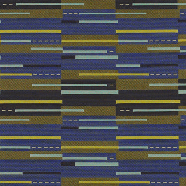 navy blue, classic blue, and yellow geometric patterned fabric by Momentum Dash, color Batik