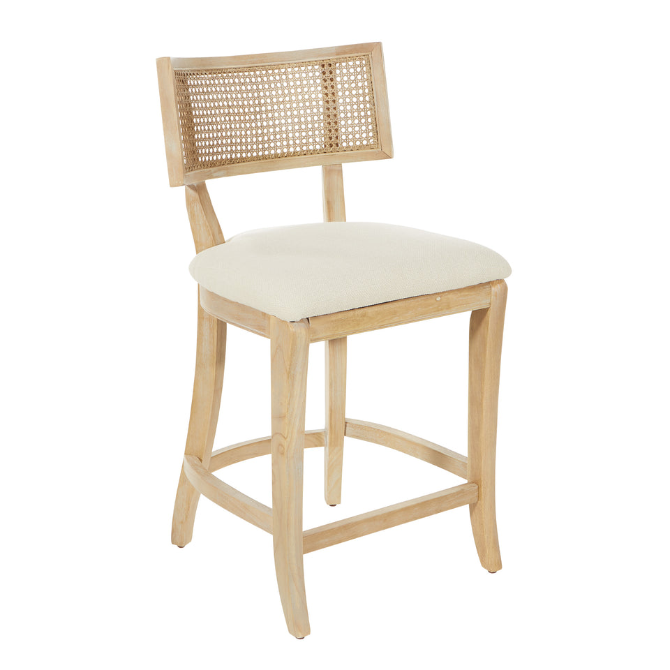Rustic, solid wood frame, natural finish and deeply padded seating ensure a durability and comfort. The softly curved cane back provides visual interest and texture to distinguish your living room, family room or reading nook. counter stool angle