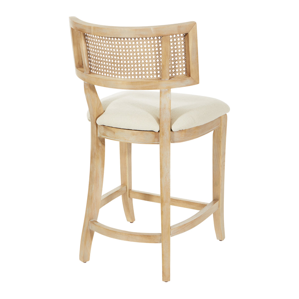 Rustic, solid wood frame, natural finish and deeply padded seating ensure a durability and comfort. The softly curved cane back provides visual interest and texture to distinguish your living room, family room or reading nook. counter stool angle back