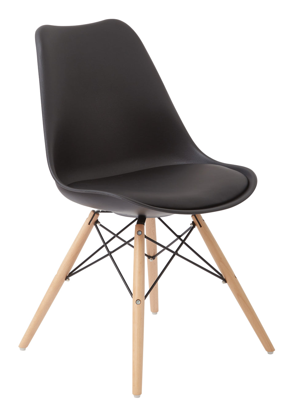 mid century modern aimes black bucket chair with natural post legs scandinavian design inspired from decurban.com