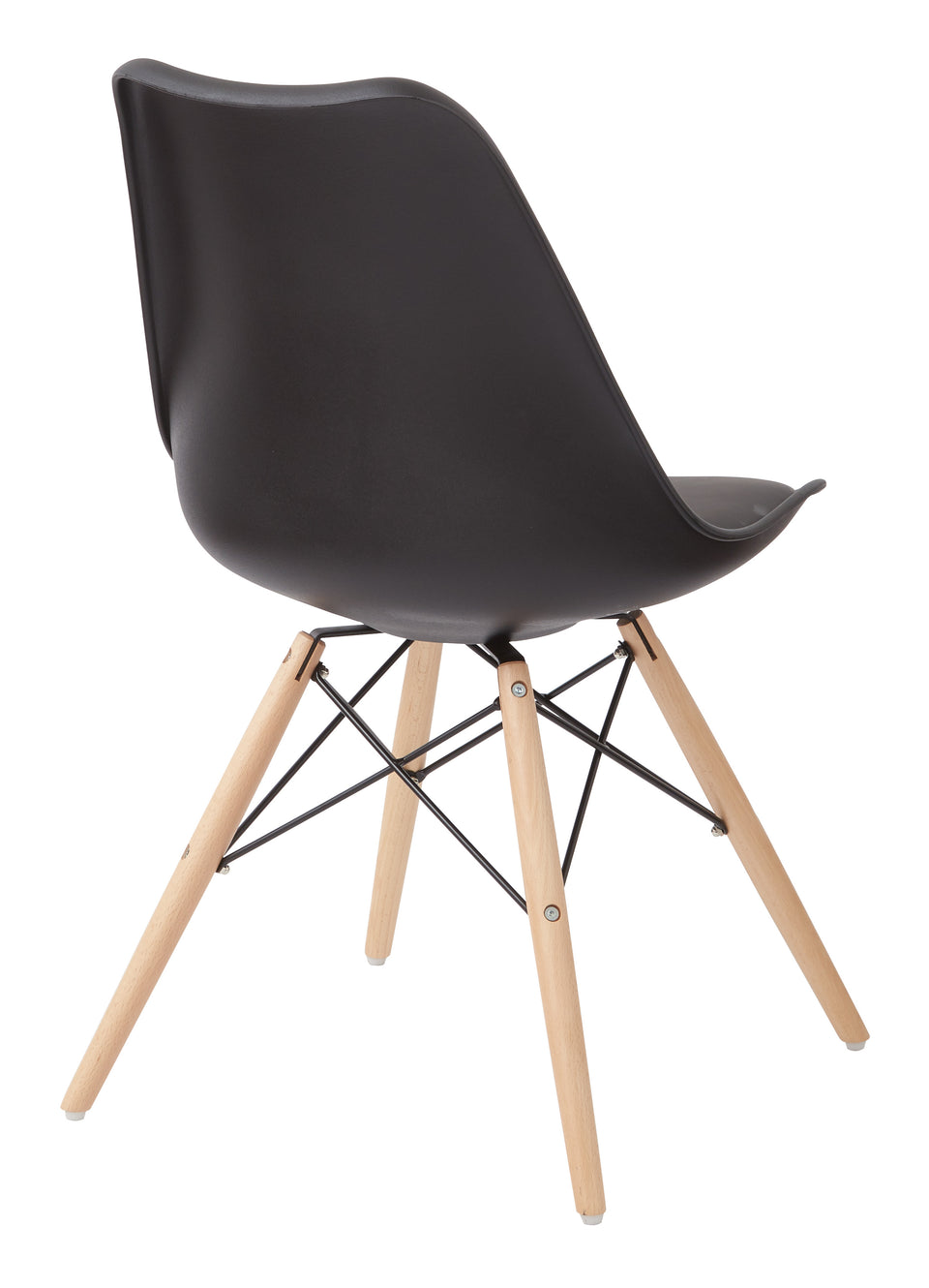 mid century modern aimes black bucket chair with natural post legs scandinavian design inspired from decurban.com back view