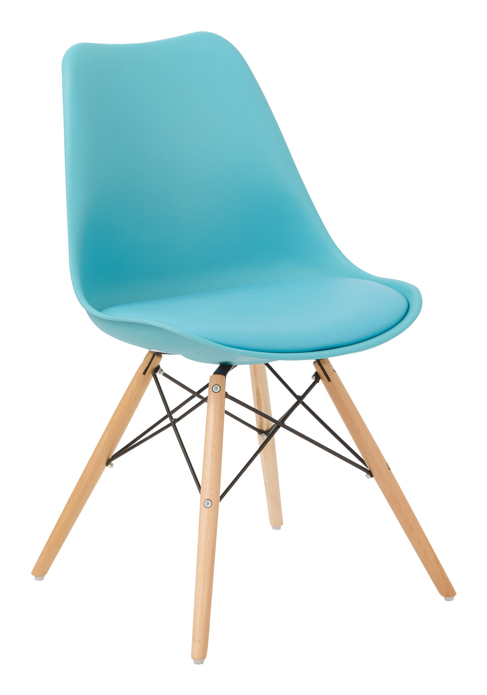 mid century modern aimes blue bucket chair with natural post legs scandinavian design inspired from decurban.com