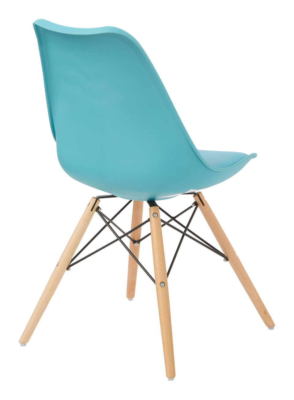 mid century modern aimes blue bucket chair with natural post legs scandinavian design inspired from decurban.com angle back view
