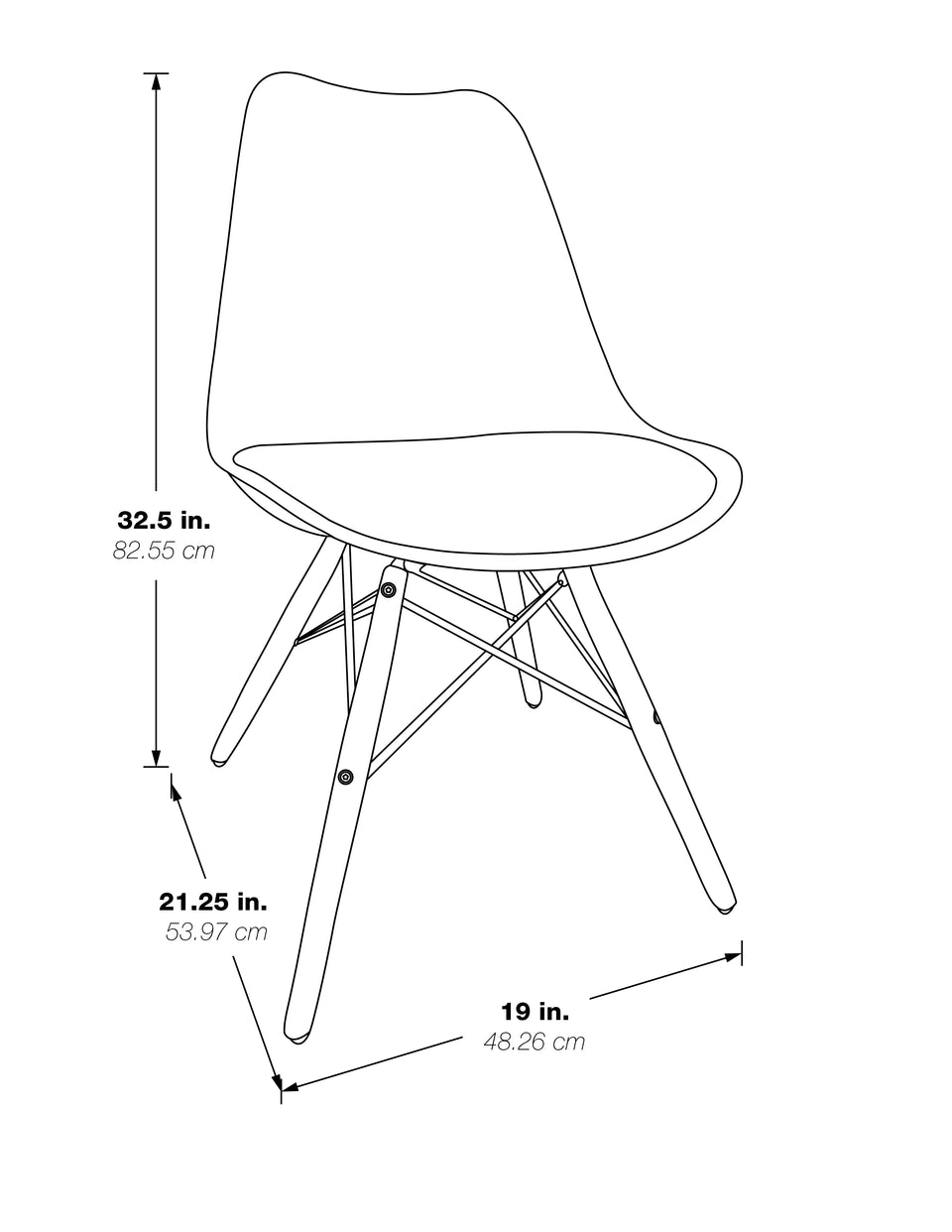 mid century modern aimes bucket chair with natural post legs scandinavian design inspired from decurban.com 3D dimensional drawing showing dimensions