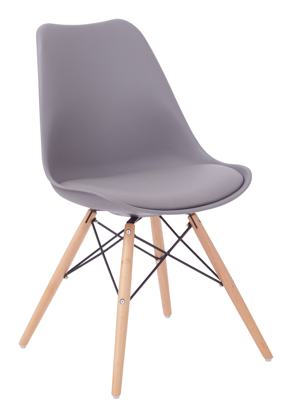 mid century modern aimes gray bucket chair with natural post legs scandinavian design inspired from decurban.com