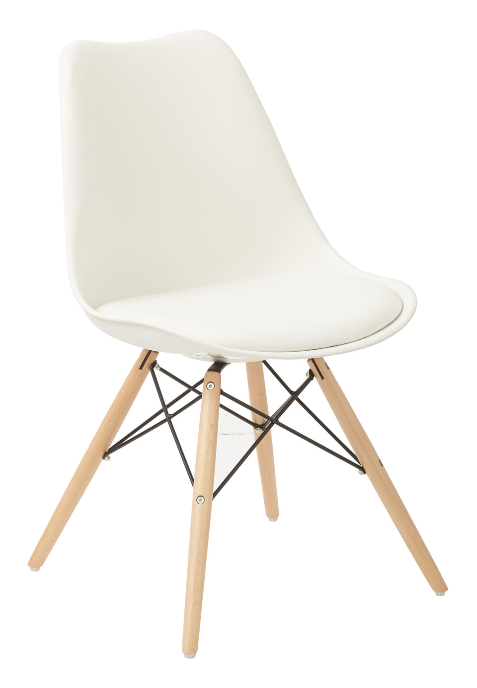 mid century modern aimes white bucket chair with natural post legs scandinavian design inspired from decurban.com