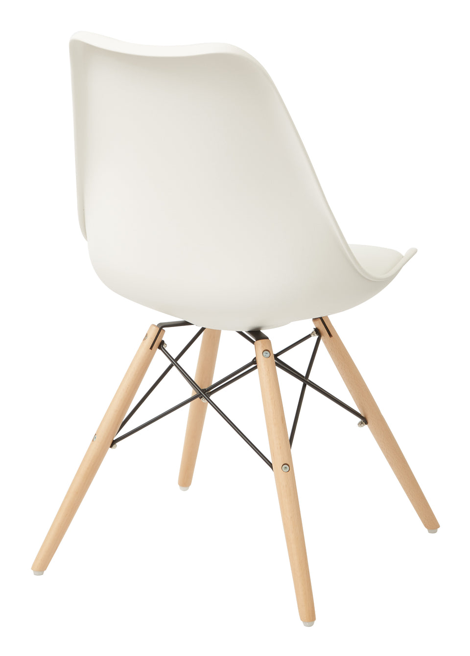 mid century modern aimes white bucket chair with natural post legs scandinavian design inspired from decurban.com back angle view