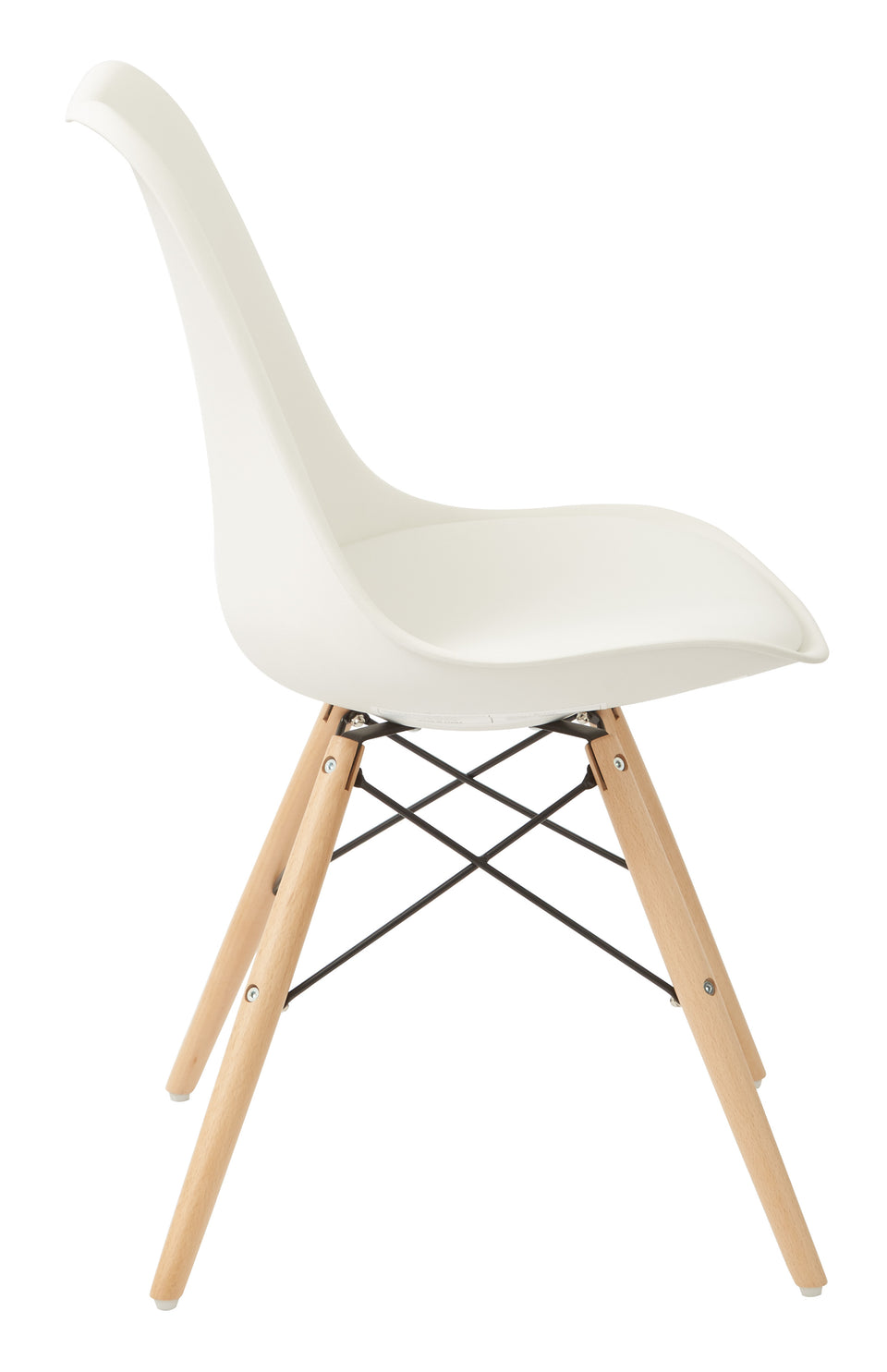 mid century modern aimes white bucket chair with natural post legs scandinavian design inspired from decurban.com side view
