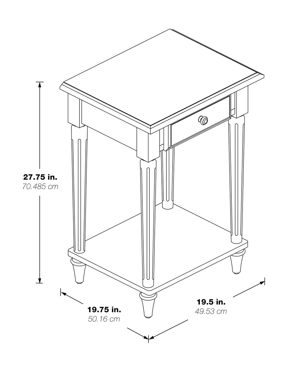 mid century modern light walnut end table black and white schematic