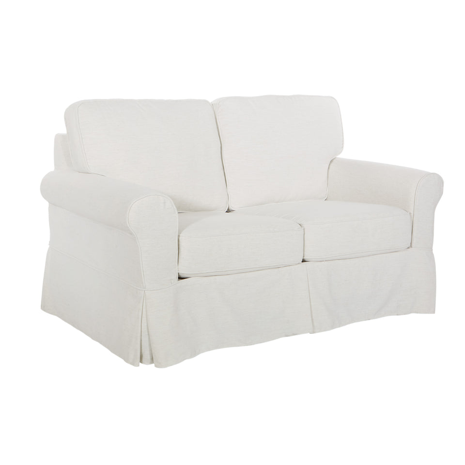 leon french country slipcover style loveseat in ivory angle