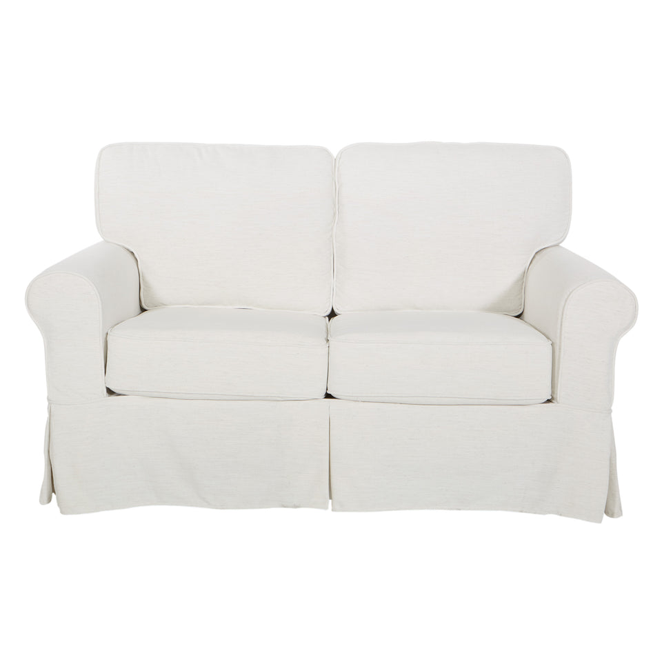 leon french country slipcover style loveseat in ivory front