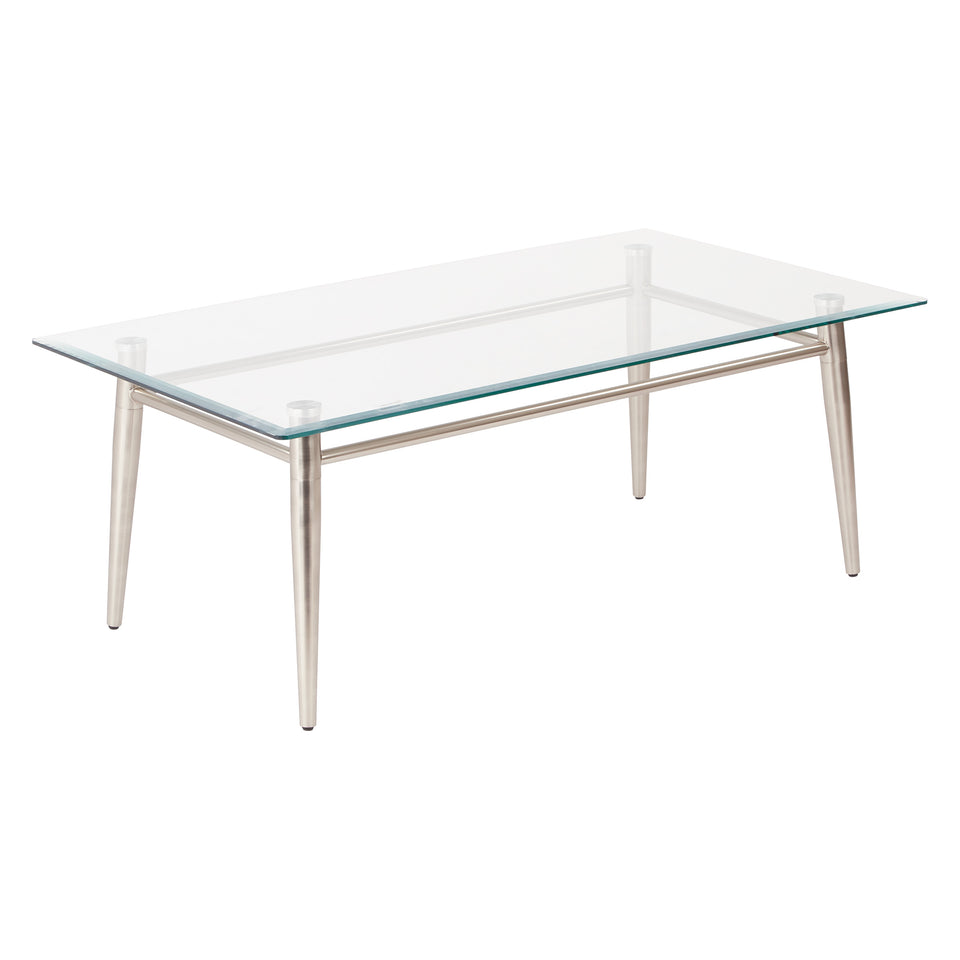 brooklyn rectangle glass and brushed nickel coffee table