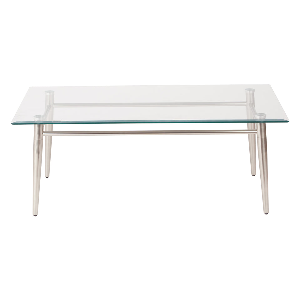 brooklyn rectangle glass and brushed nickel coffee table front