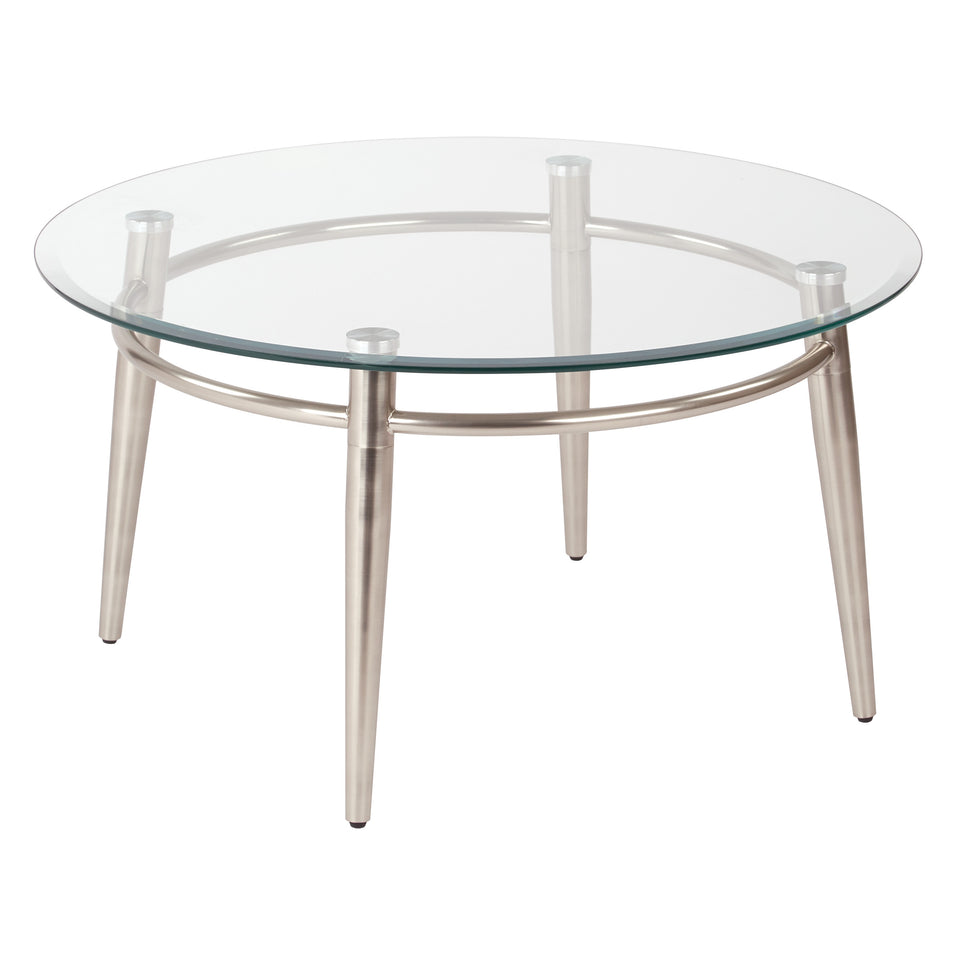 brooklyn round glass and brushed nickel coffee table