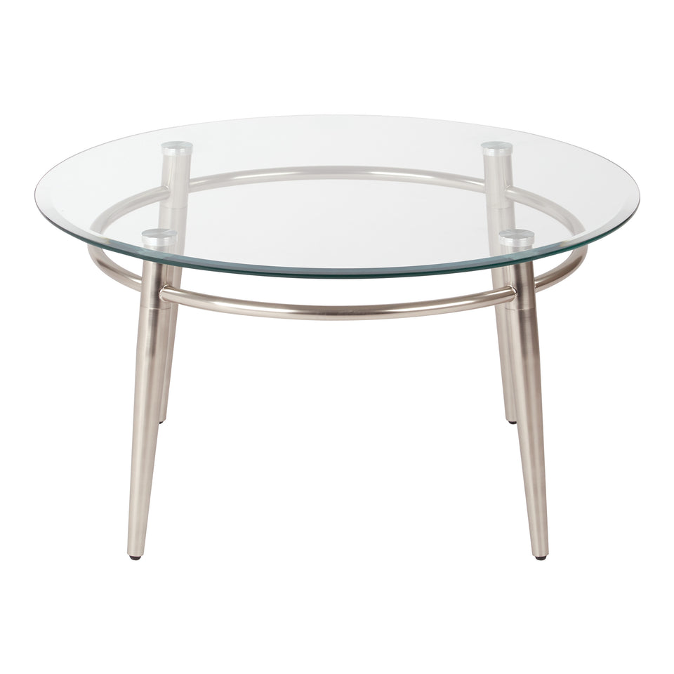 brooklyn round glass and brushed nickel coffee table front