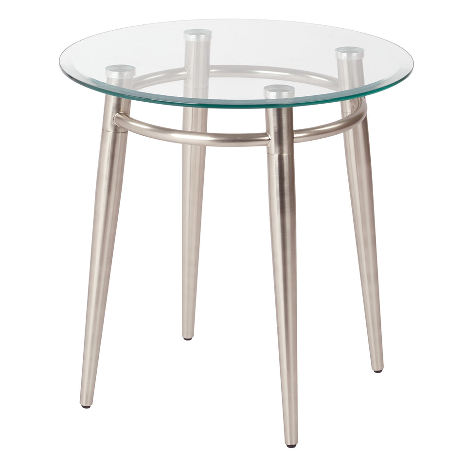 brooklyn round glass and brushed nickel end table