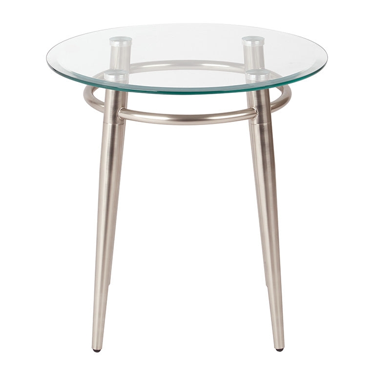 brooklyn round glass and brushed nickel end table front
