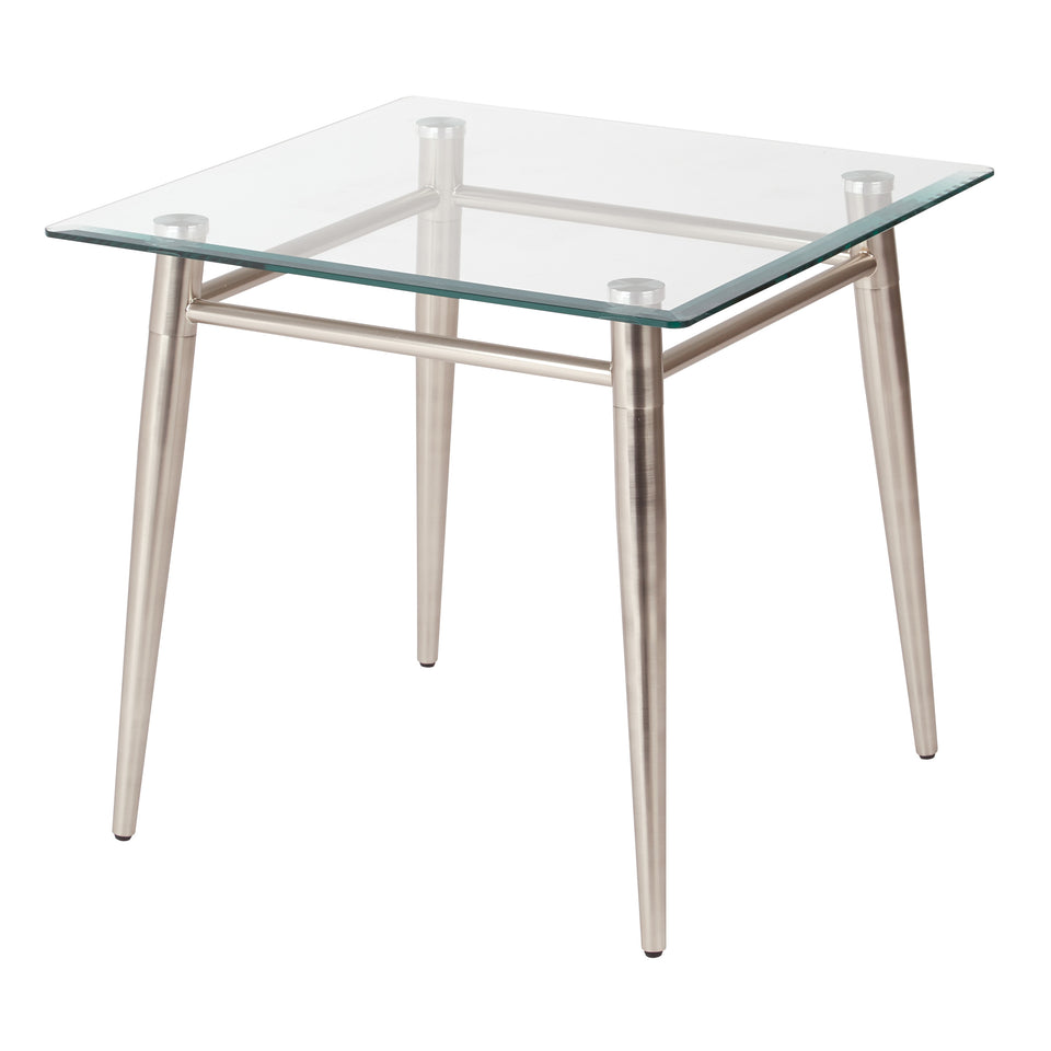 brooklyn square glass and brushed nickel end table