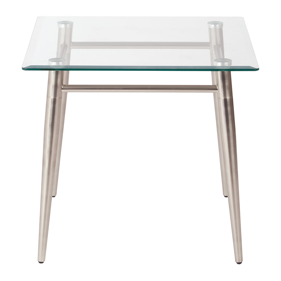 brooklyn square glass and brushed nickel end table front