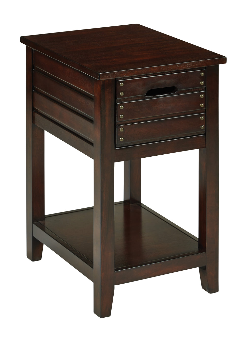 camille walnut side table with nailhead accents and single drawer