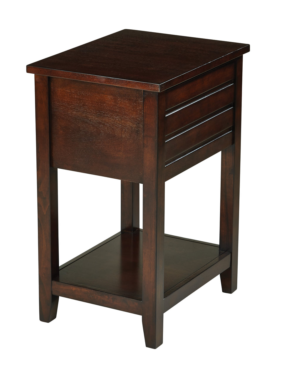 camille walnut side table with nailhead accents and single drawer back view