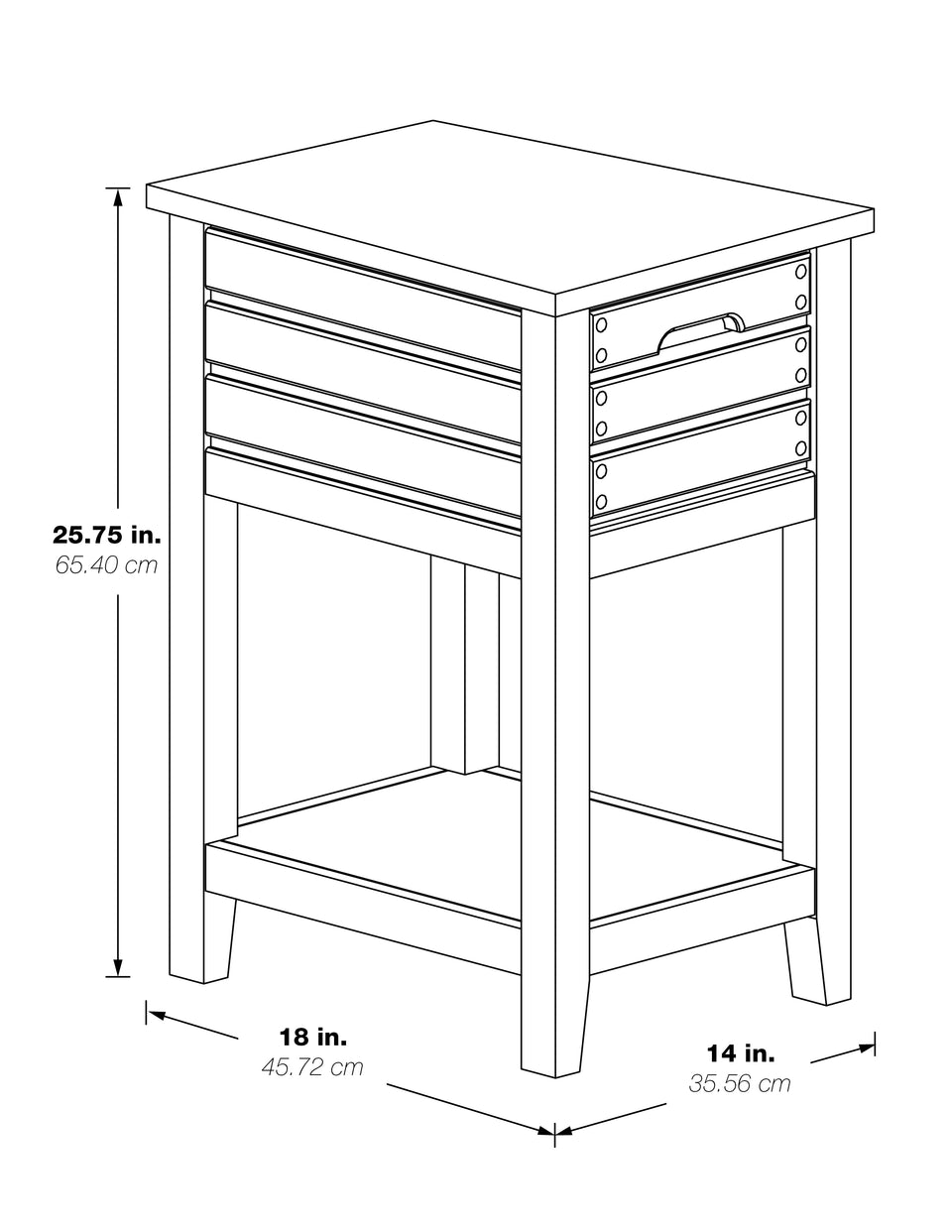 camille walnut side table 3d schematic