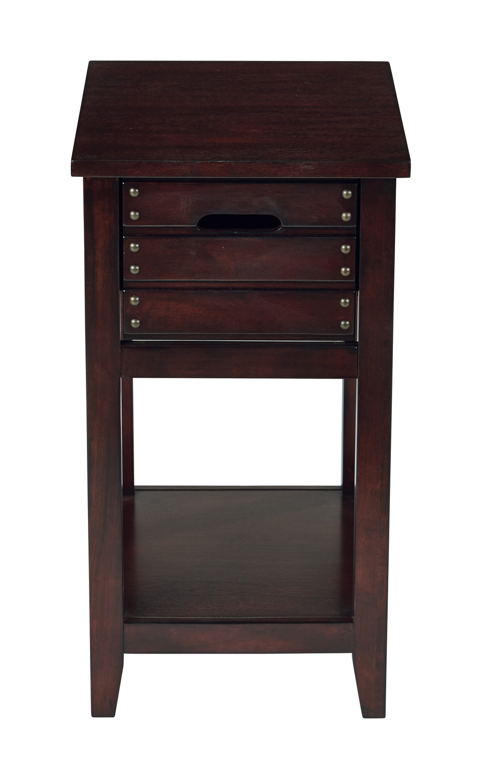 camille walnut side table with nailhead accents and single drawer front view