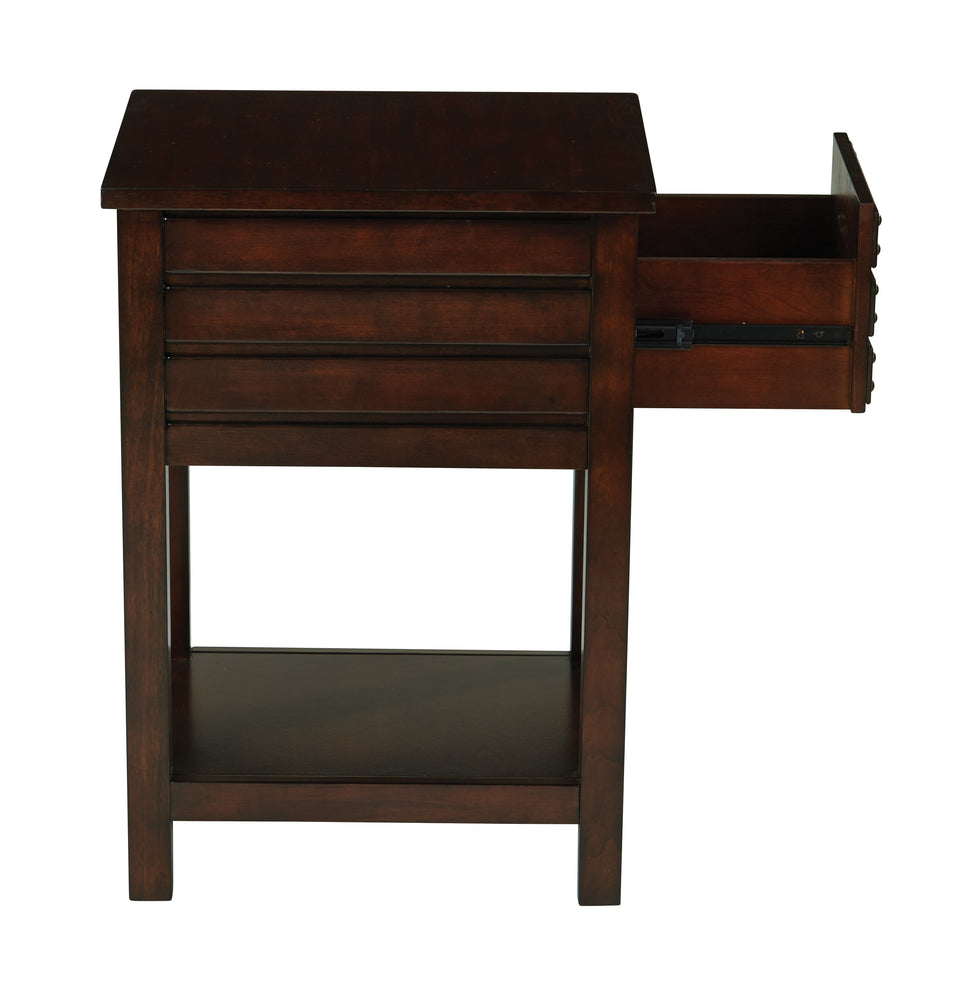 camille walnut side table with nailhead accents and single drawer open side view