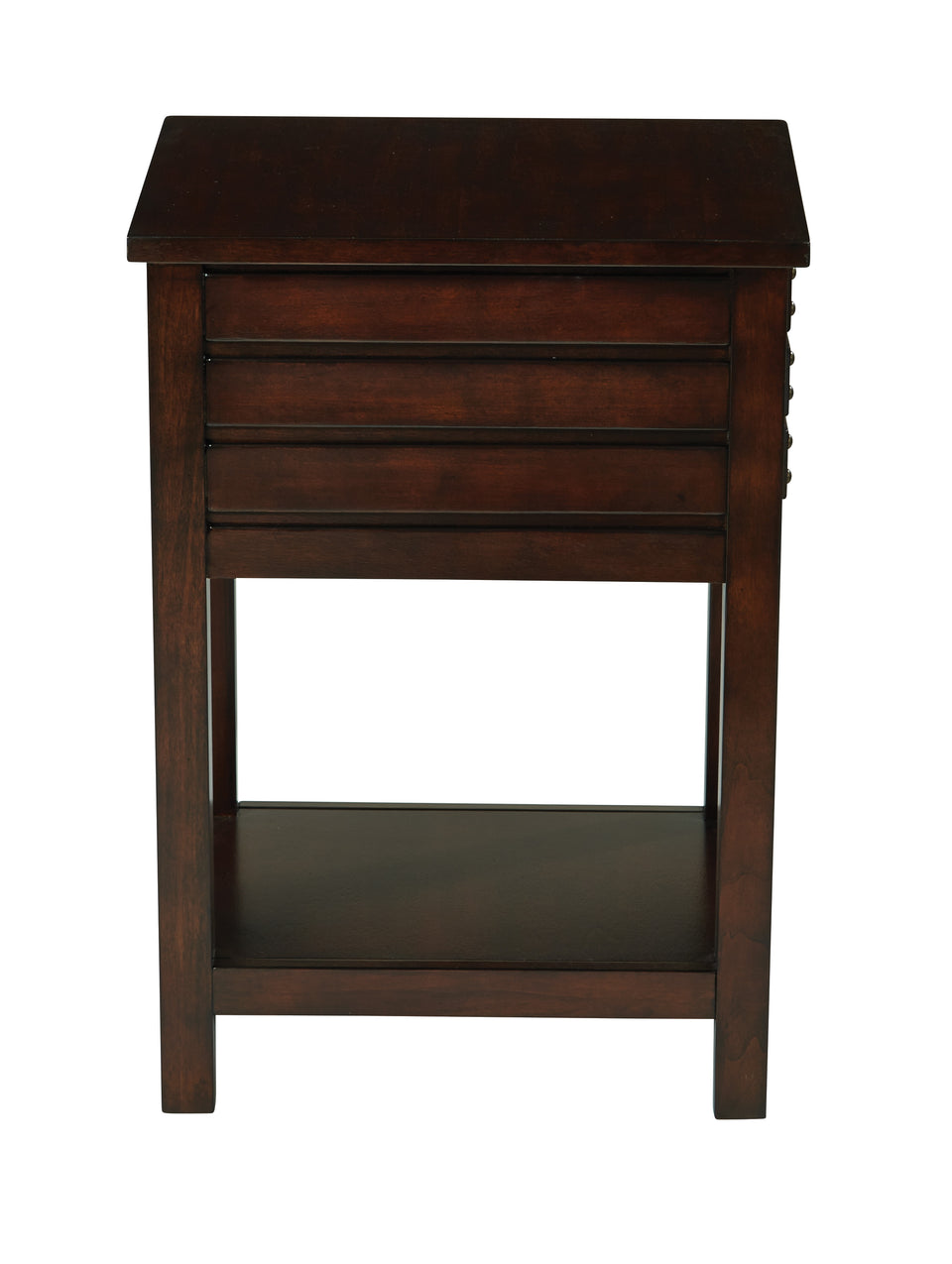 camille walnut side table with nailhead accents and single drawer side view