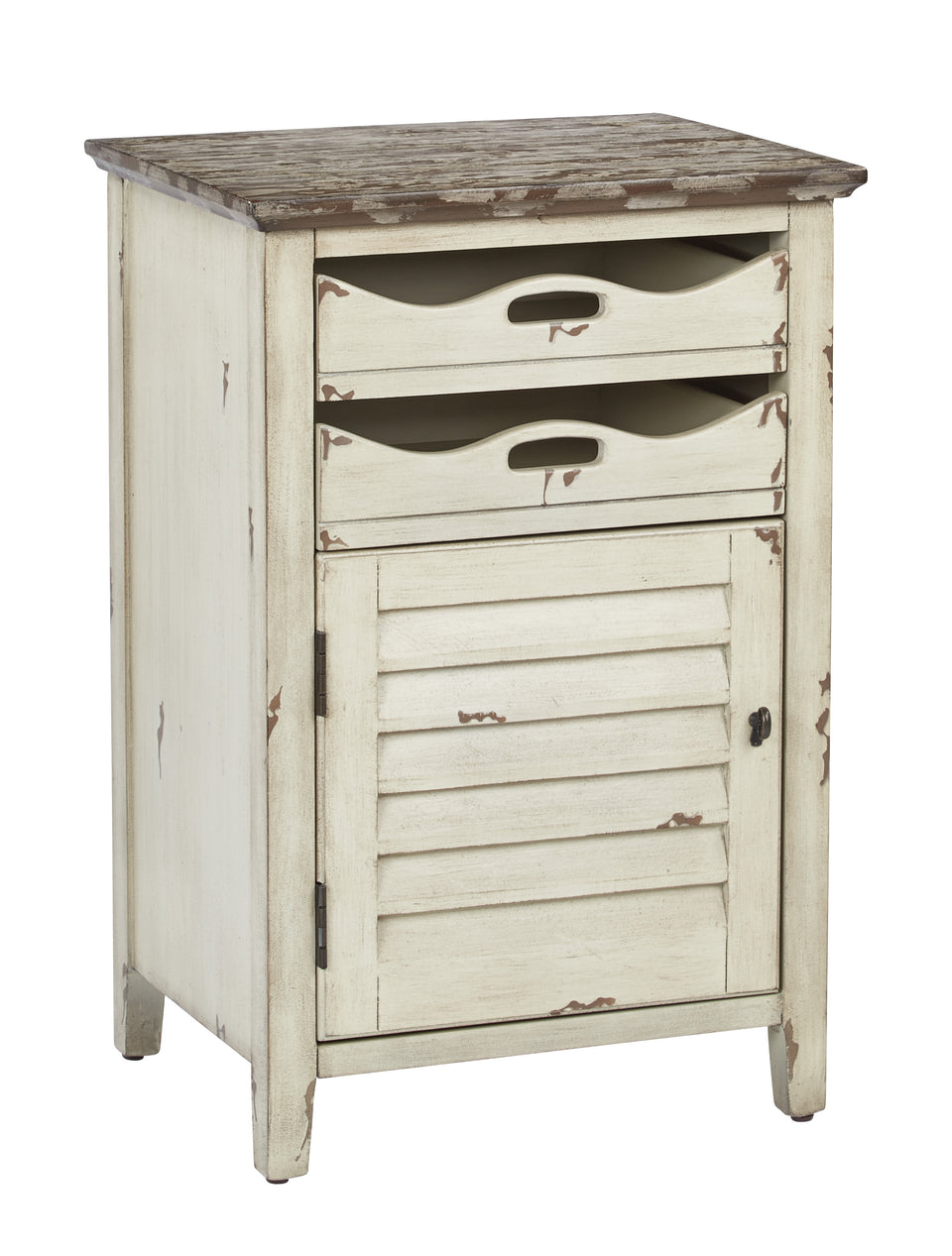 charlotte side table shutter door and two letter tray slide out drawers in distressed white
