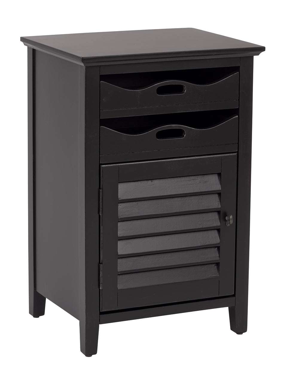charlotte side table shutter door and two letter tray slide out drawers in black