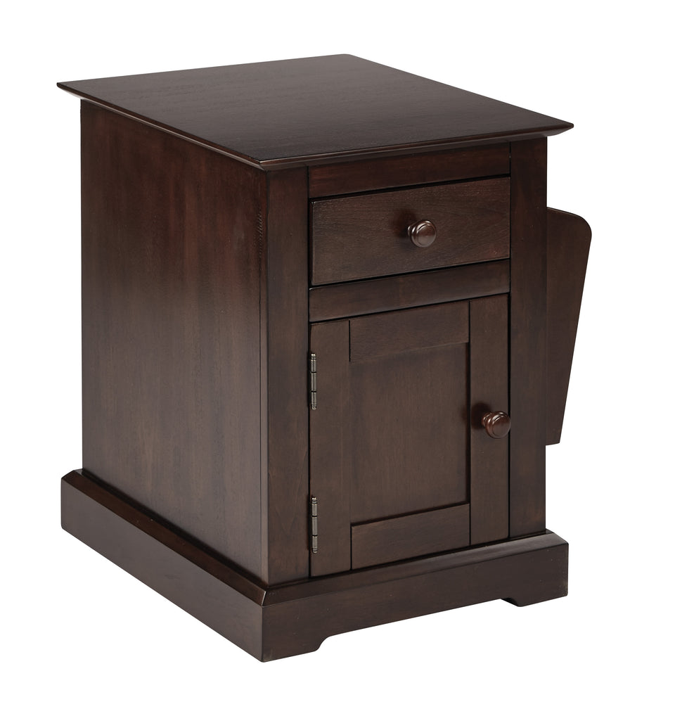 colette walnut side table with drawer and magazine holder closed angle view