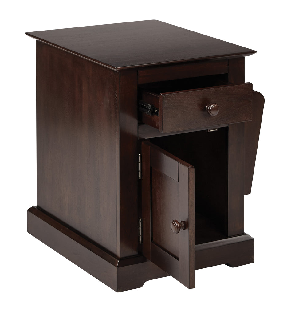 colette walnut side table with drawer and magazine holder open angle view