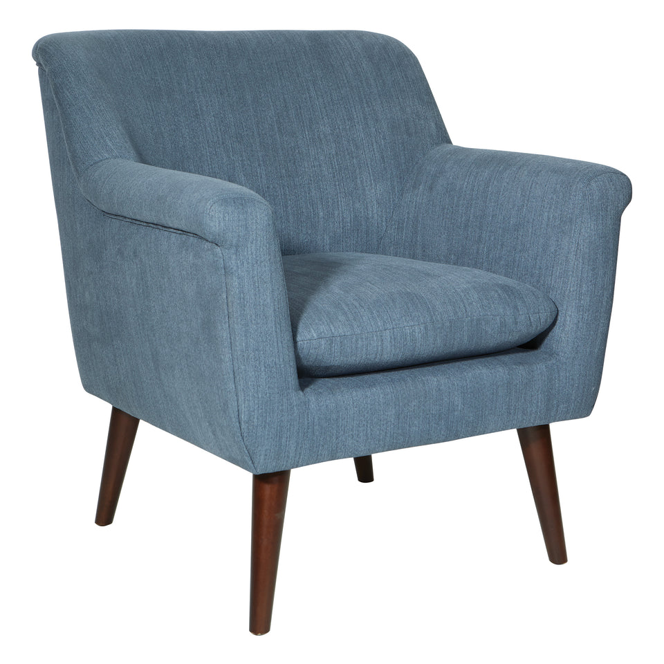dominic mid century modern lounge chair blue angle