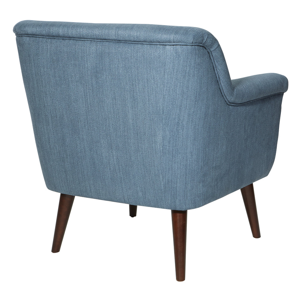 dominic mid century modern lounge chair blue angle  back
