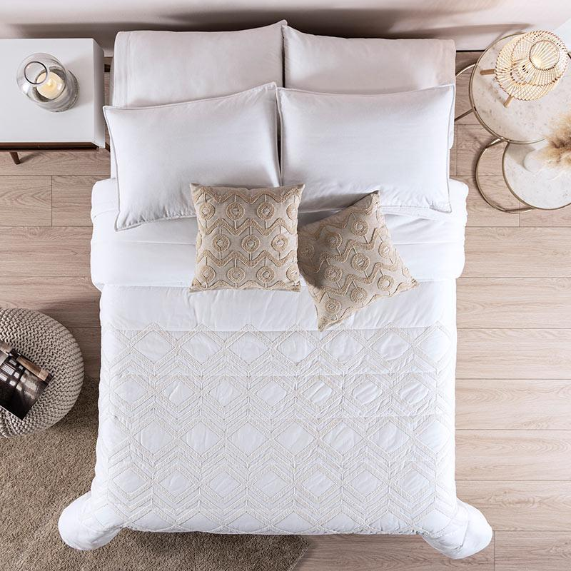 Boho Chic Ivory Textured 100% Cotton Comforter Set