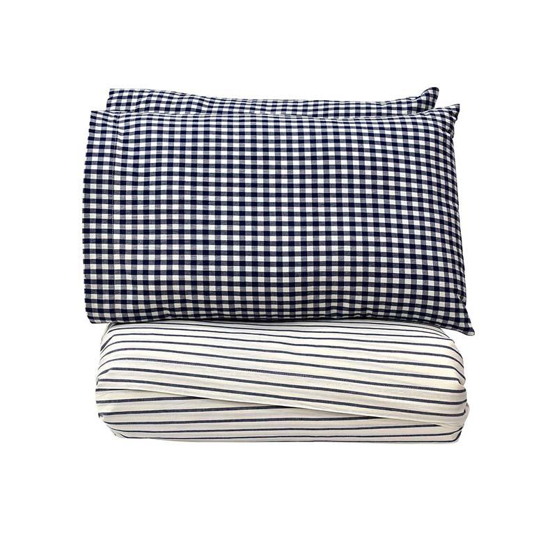 Downtown Blue & White Stripes & Check Sheet Set