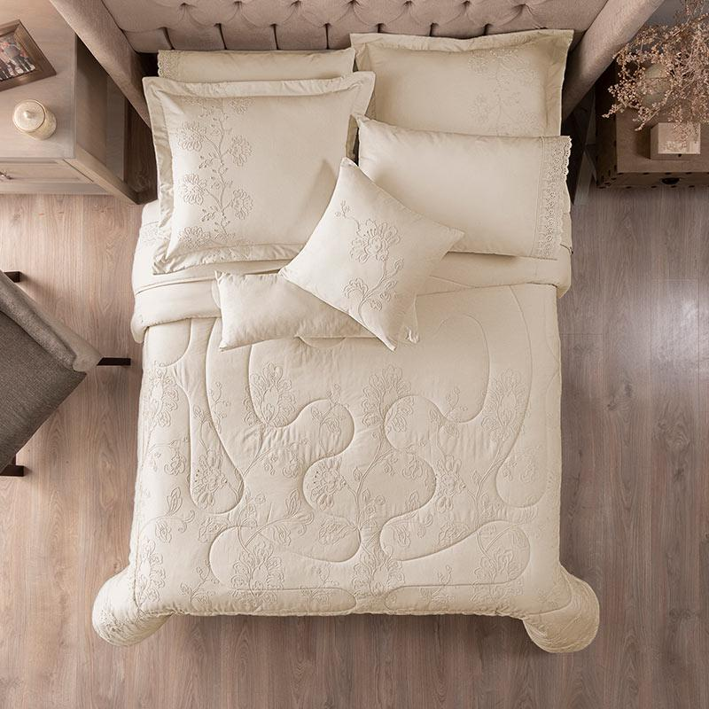 Ivory Elegant Floral Embroidered Comforter Set