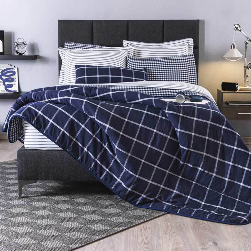 Downtown Blue & White Reversible Plaid Comforter Set