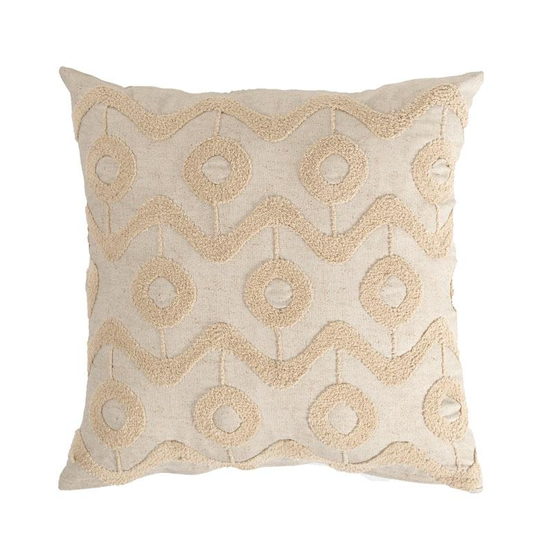 textured beige geometric square pillow cover